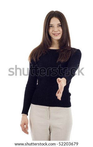 Portrait of a woman with an open left hand ready to seal a deal, Left handed Handshake - stock photo