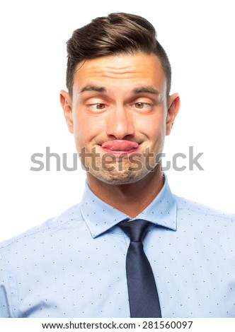 Portrait of a young silly businessman with funny face, isolated on white background - stock photo