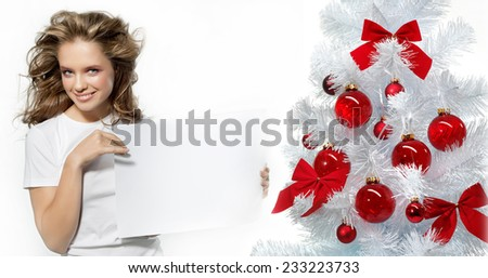 portrait of attractive caucasian smiling woman  isolated on white. studio shot.  - stock photo