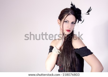 portrait of beautiful stylish girl - stock photo