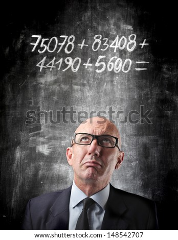 portrait of businessman thinking about the solution - stock photo