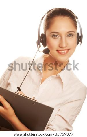 Portrait of friendly secretary/telephone operator wearing headset - stock photo