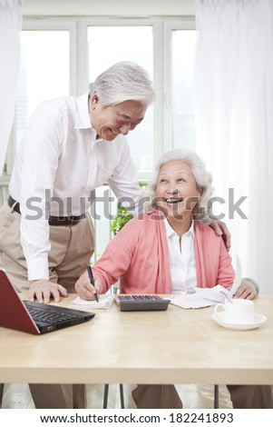 Portrait of senior couple - stock photo