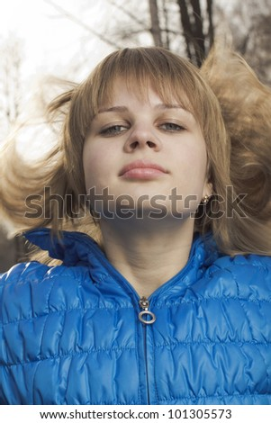 Portrait of the girl in movement - stock photo