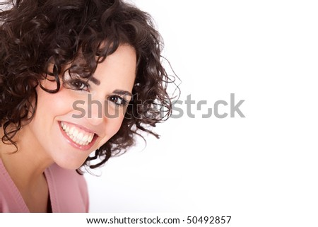 Portrait shot of a beautiful caucasian woman. Happy and smiling - stock photo