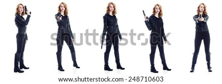 5 poses of an attractive young woman with a gun.  Isolated on white. - stock photo
