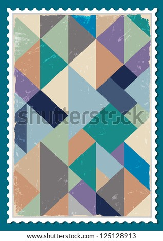 Post stamp with retro pattern. Raster version - stock photo