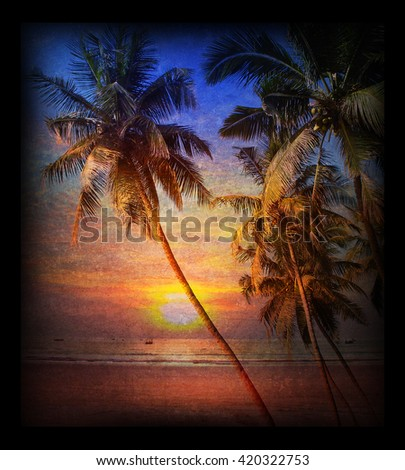 Postcard in vintage style - Tropical sunrise at sea with palm trees, illuminated by soft sunlight - stock photo