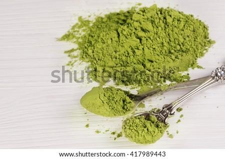 Powdered green tea. Japanese Matcha tea. - stock photo