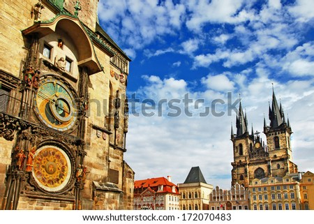 Prague, Czech Republic - view of square and astronomical clock  - stock photo
