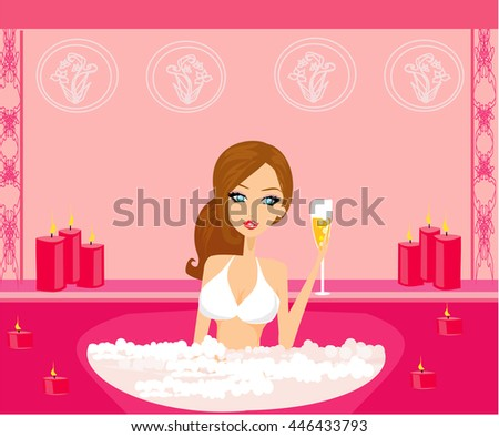 pretty girl enjoying elegant spa  - stock photo