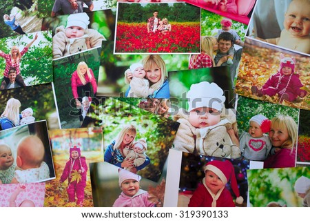 Printed photos background - stock photo