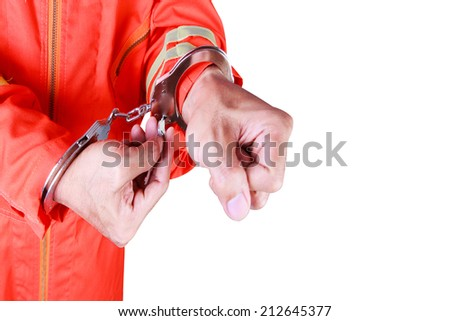 Prisoner with handcuffs released after judgment isolated on white background with clipping path - stock photo