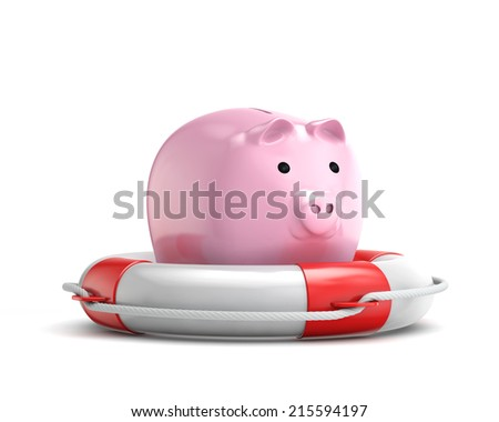 protection piggy bank (investment) with lifebuoy isolated white background with clipping path - stock photo