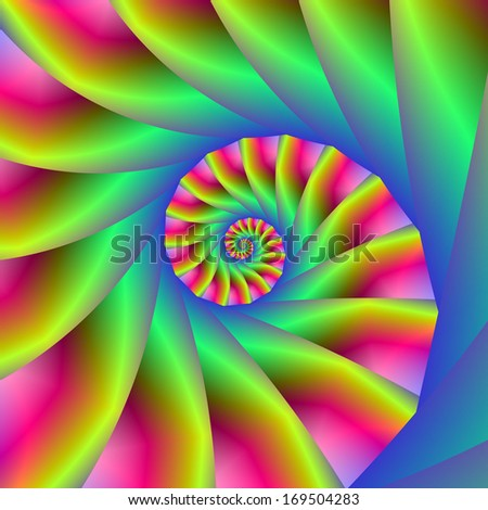 Psychedelic Spiral Steps / Digital abstract fractal image with psychedelic spiral design in blue yellow and pink.  - stock photo
