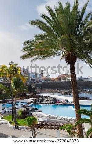 Puerto de la Cruz embankment in old town, Tenerife island, Canarias Spain - stock photo