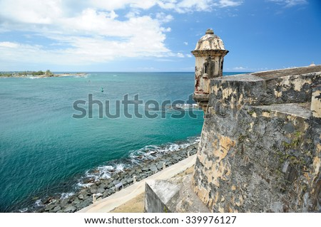 Puerto Rico fort castle caribbean - stock photo