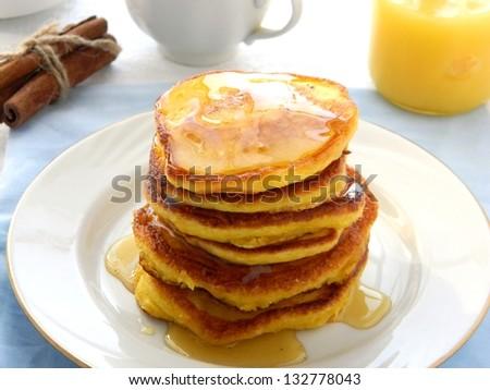Pumpkin pancakes - stock photo