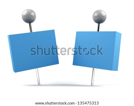 pushpin with card - stock photo