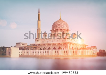 Putra Mosque at sunset in Putrajaya - Kuala Lumpur, Malaysia. - stock photo