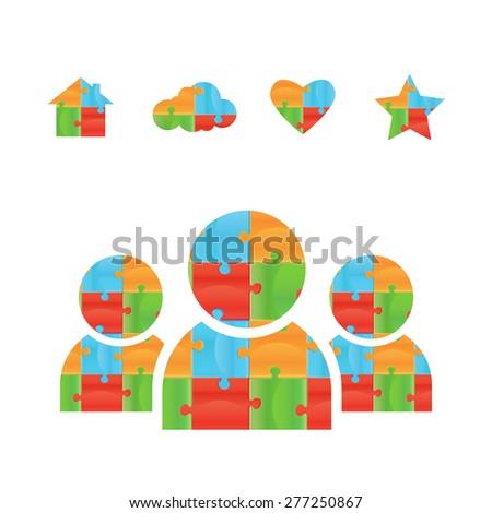 puzzle. Puzzle  logo design template. Funny Rebus entertainment concept. Colorful logic icon. Construction logo. Differences shape Puzzles - stock photo