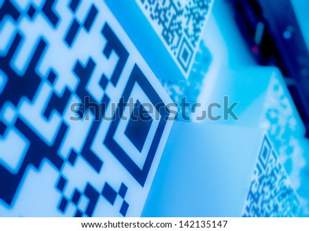 QR codes blue  science and technology wallpaper  background blue  science and technology wallpaper  background - stock photo