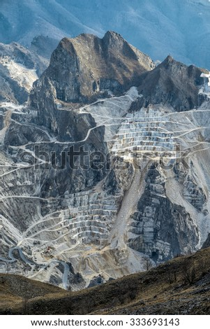 quarry in tuscany, Italy, Carrara - stock photo