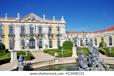 Queluz National Palace,Sintra, Lisbon district, Portugal - stock photo