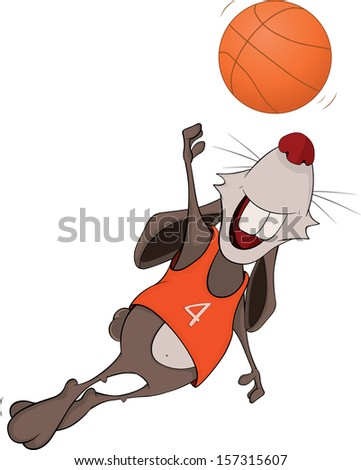 Rabbit the basketball player cartoon - stock photo