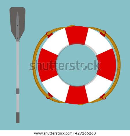 Raster illustration lifebuoy and boat rowing oar isolated on blue background. Life ring, life preserver, life buoy icon flat design - stock photo