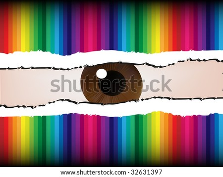 (raster image of vector) an eye peeking through the spoil paper - stock photo