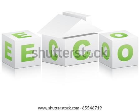 (raster image of vector) ecological house - stock photo