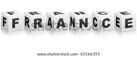 (raster image of vector) france word - stock photo