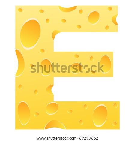 (raster image of vector) letter e - stock photo