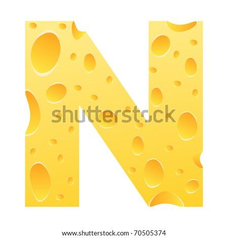 (raster image of vector) letter n - stock photo