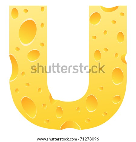 (raster image of vector) letter u - stock photo