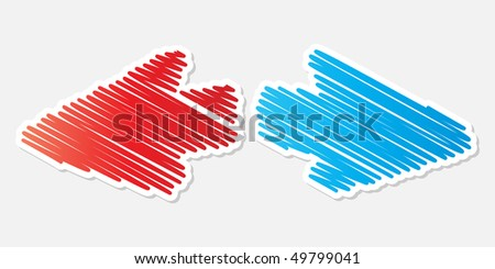 (raster image of vector) Opposite arrow - stock photo