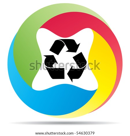 (raster image of vector) recycling button - stock photo