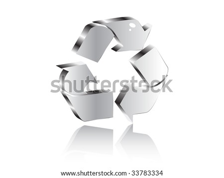 (raster image of vector) recycling icon - stock photo