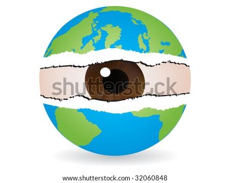 (raster image of vector) spy the world - stock photo