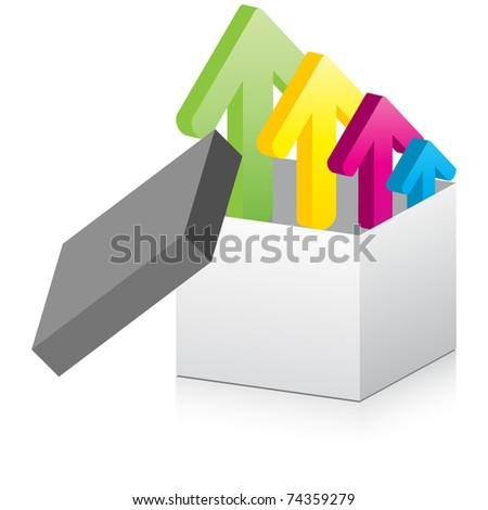 (raster image) open box with arrows inside - stock photo