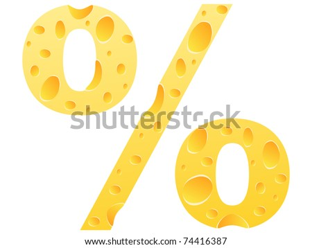 (raster image) percent icon made of cheese - stock photo