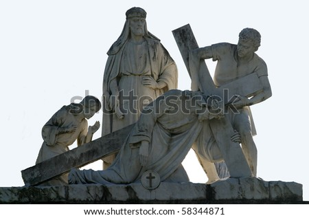 3rd Station of the Cross, Jesus falls the first time - stock photo