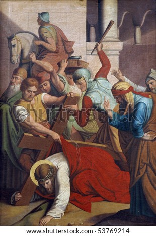 3rd Stations of the Cross, Jesus falls the first time - stock photo