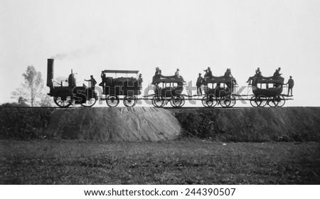 1929 re-enactment photo of the DEWITT CLINTON steam engine making its first trip with passengers from Albany to Schenectady on August 9 1831. - stock photo