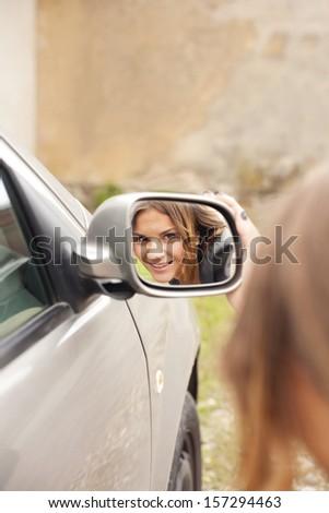 rearview mirror - stock photo