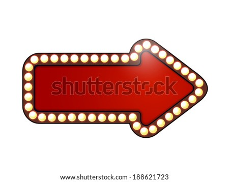 Red arrow with light bulbs. Isolated  - stock photo