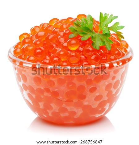 Red caviar, isolated on the white background, clipping path included. - stock photo