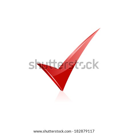 red check mark.Raster copy. - stock photo
