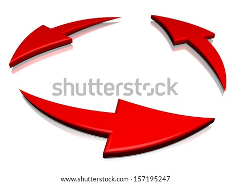 3 red cyclic arrows turning on themselves, representing notions such as synchronization, connection, process, movement, cyclical phenomenon, renewal, repetition, rotation, as well time which is going - stock photo